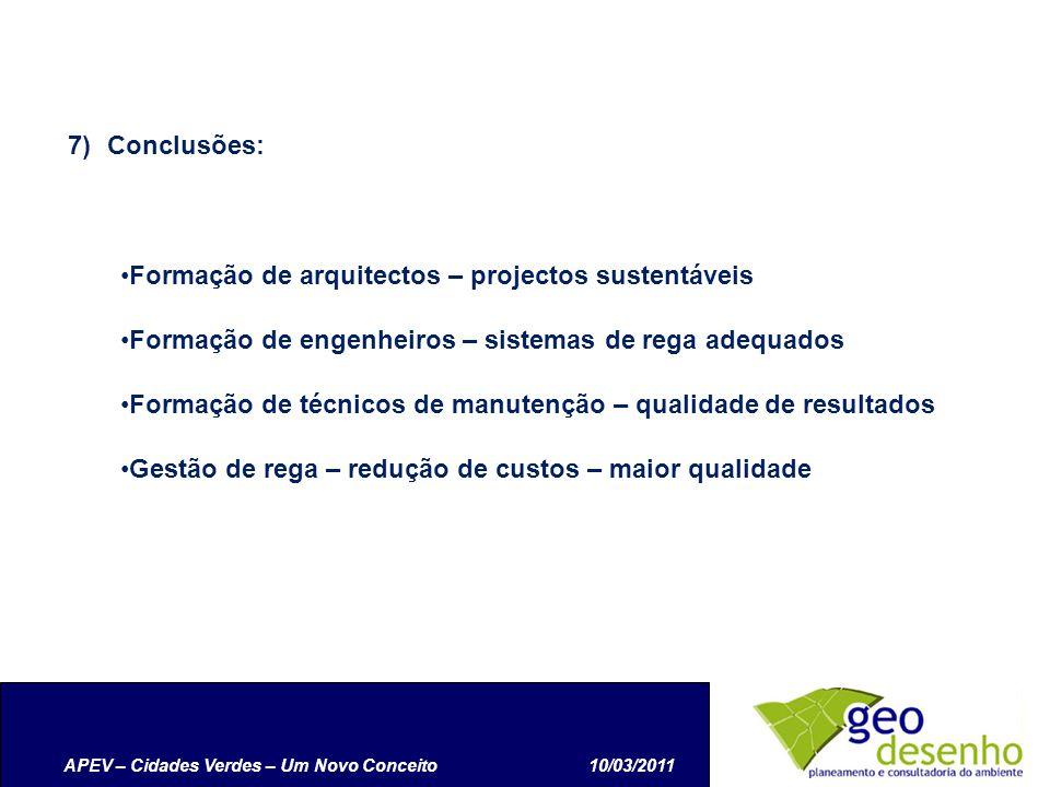 APEV – Cidades Verdes – Um Novo Conceito10/03/2011 7)Conclusões: Formação de arquitectos – projectos sustentáveis Formação de engenheiros – sistemas de rega adequados Formação de técnicos de manutenção – qualidade de resultados Gestão de rega – redução de custos – maior qualidade