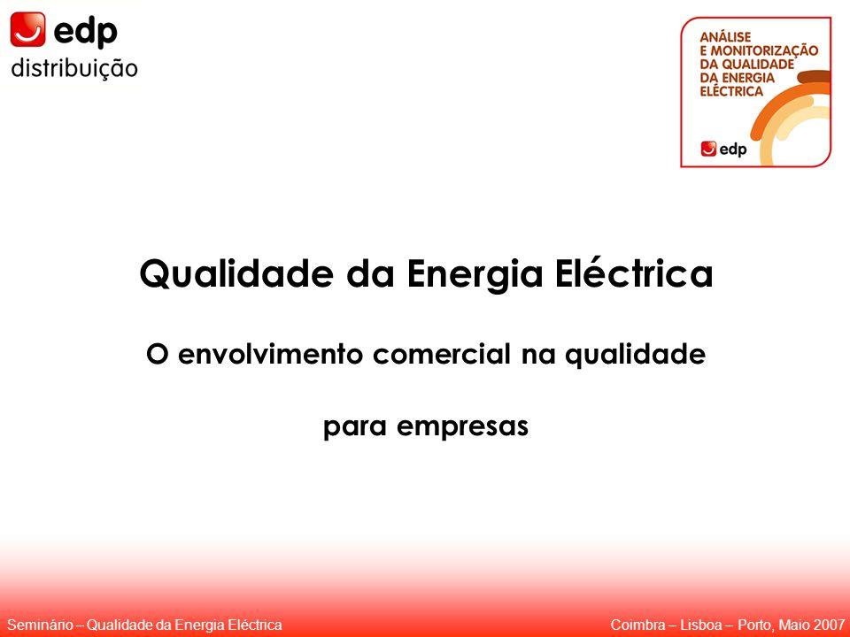Coimbra – Lisboa – Porto, Maio 2007Seminário – Qualidade da Energia Eléctrica Qualidade da Energia Eléctrica O envolvimento comercial na qualidade para empresas Coimbra – Lisboa – Porto, Maio 2007Seminário – Qualidade da Energia Eléctrica
