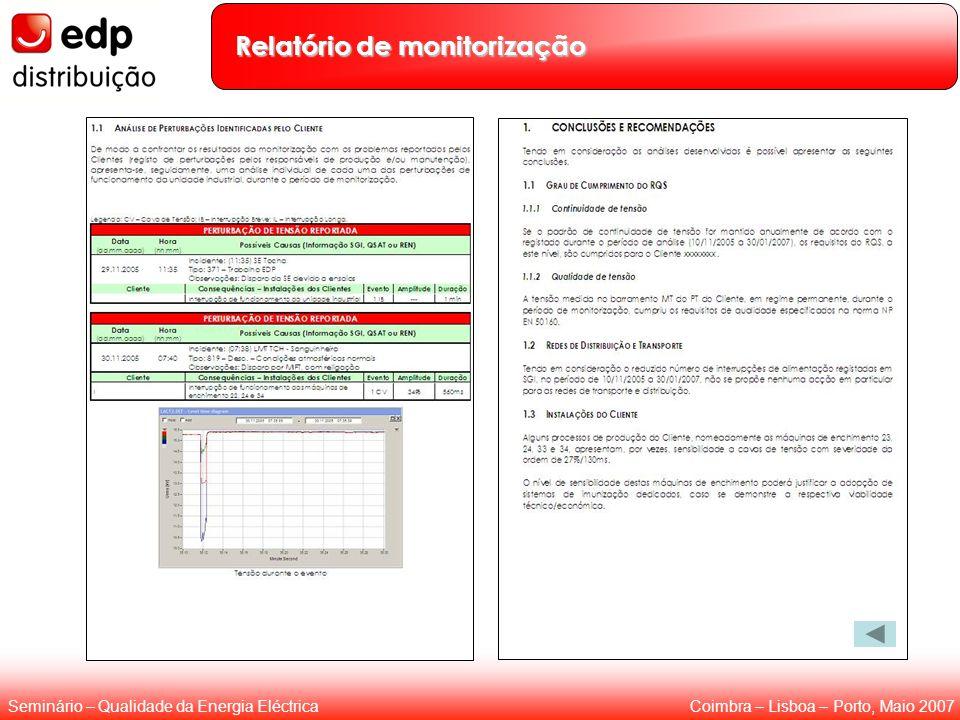 Coimbra – Lisboa – Porto, Maio 2007Seminário – Qualidade da Energia Eléctrica Relatório de monitorização