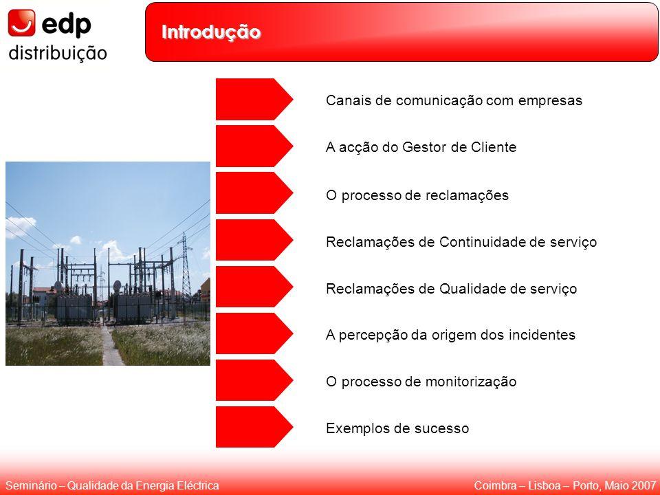 Coimbra – Lisboa – Porto, Maio 2007Seminário – Qualidade da Energia Eléctrica Introdução Reclamações de Continuidade de serviço Reclamações de Qualidade de serviço Canais de comunicação com empresas A acção do Gestor de Cliente O processo de reclamações O processo de monitorização Exemplos de sucesso A percepção da origem dos incidentes