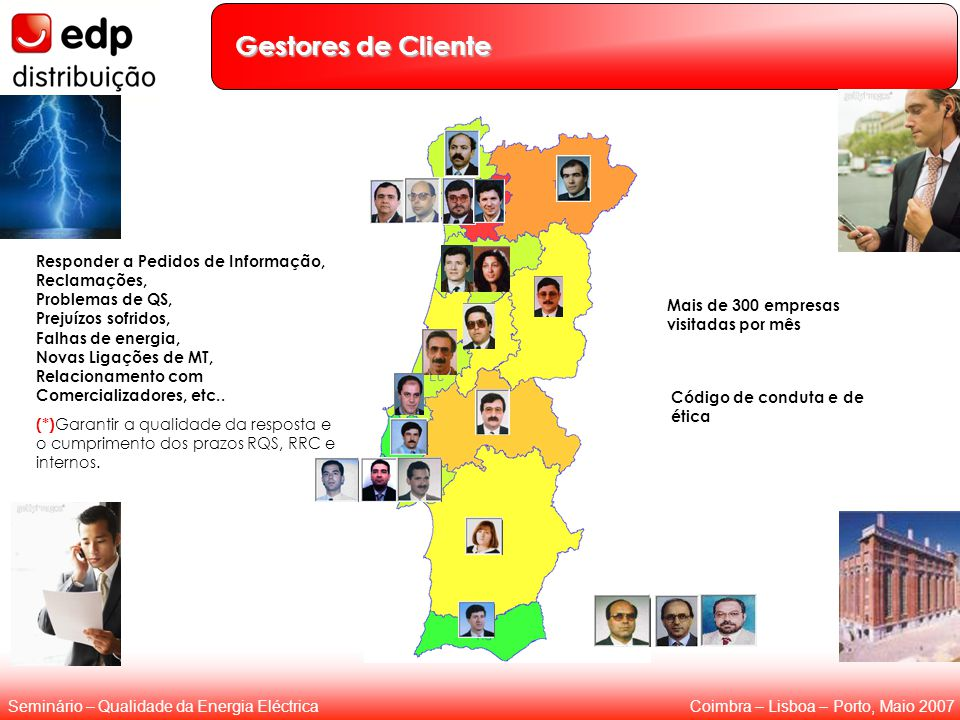Coimbra – Lisboa – Porto, Maio 2007Seminário – Qualidade da Energia Eléctrica Gestores de Cliente Responder a Pedidos de Informação, Reclamações, Prob