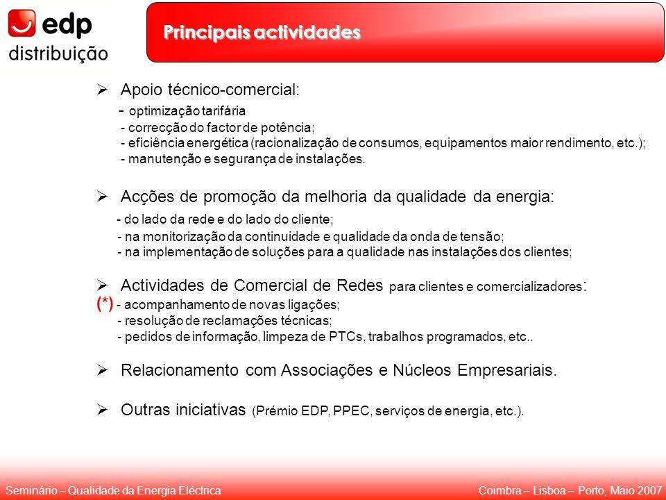 Coimbra – Lisboa – Porto, Maio 2007Seminário – Qualidade da Energia Eléctrica Principais actividades  Apoio técnico-comercial: - optimização tarifári