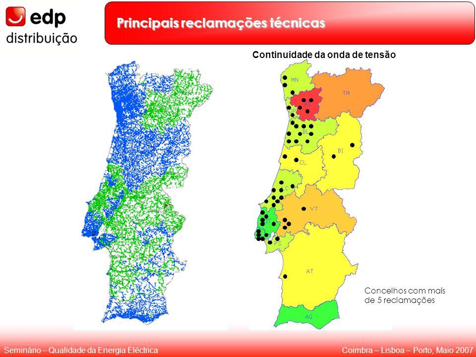 Coimbra – Lisboa – Porto, Maio 2007Seminário – Qualidade da Energia Eléctrica Principais reclamações técnicas Concelhos com mais de 5 reclamações Continuidade da onda de tensão