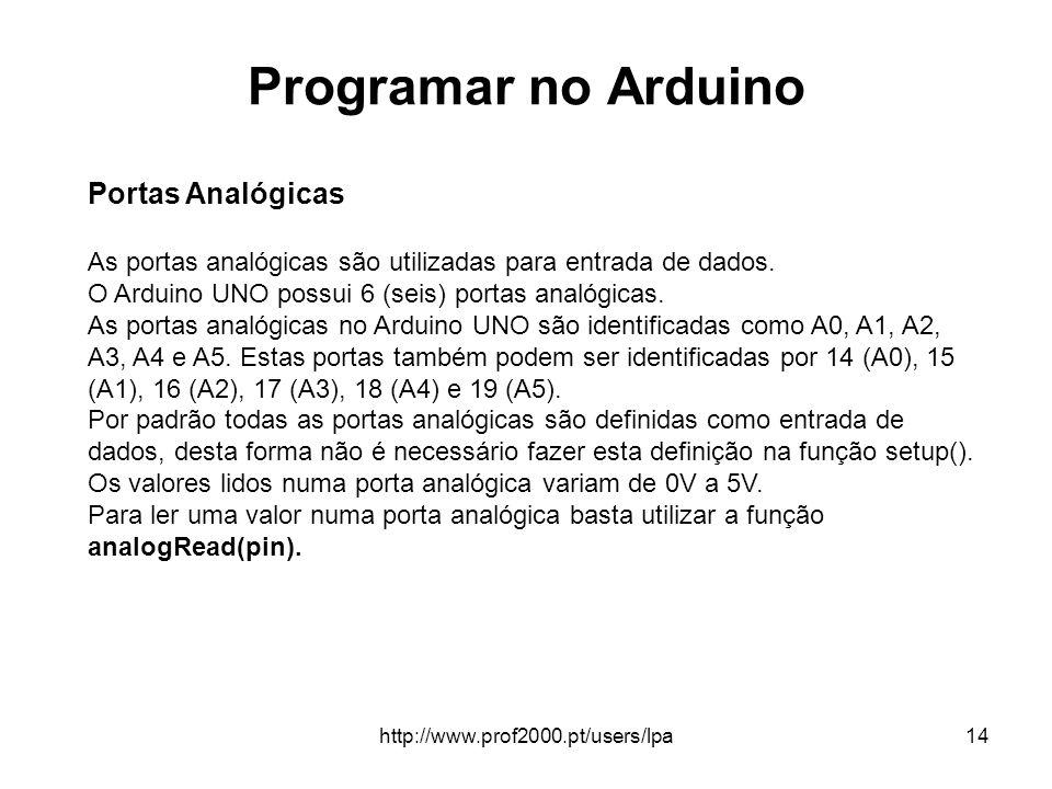 http://www.prof2000.pt/users/lpa14 Programar no Arduino Portas Analógicas As portas analógicas são utilizadas para entrada de dados. O Arduino UNO pos