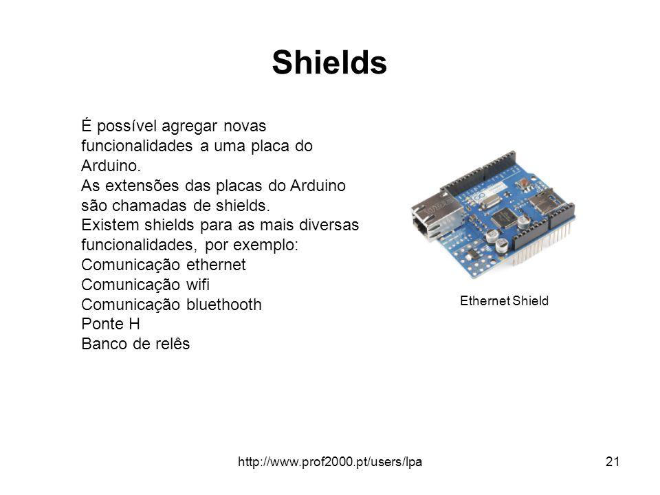 http://www.prof2000.pt/users/lpa21 Shields É possível agregar novas funcionalidades a uma placa do Arduino. As extensões das placas do Arduino são cha