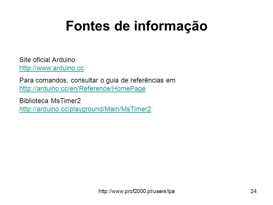 http://www.prof2000.pt/users/lpa24 Fontes de informação Site oficial Arduino http://www.arduino.cc http://www.arduino.cc Para comandos, consultar o gu
