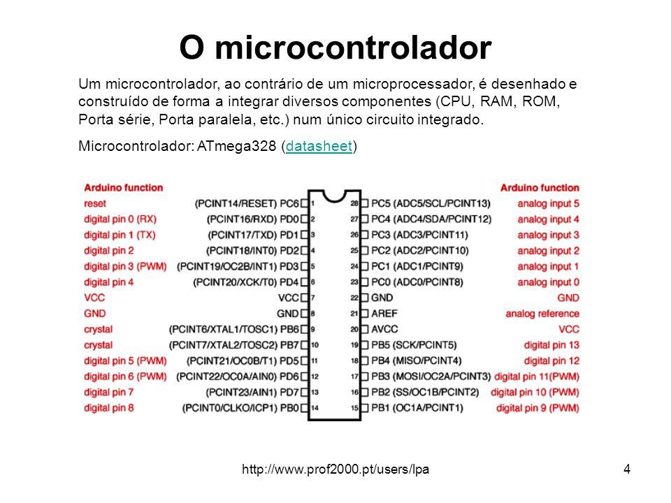 http://www.prof2000.pt/users/lpa5 Arduino uno - Caraterísticas Microcontrolador: ATmega328 Tensão de operação: 5V Tensão recomendada (entrada): 7-12V Limite da tensão de entrada: 6-20V Pinos digitais: 14 (seis pinos com saída PWM) Entrada analógica: 6 pinos Corrente contínua por pino de entrada e saída: 40 mA Corrente para o pino de 3.3 V: 50 mA Quantidade de memória FLASH: 32 KB (ATmega328) onde 0.5 KB usado para o bootloader Quantidade de memória SRAM: 2 KB (ATmega328) Quantidade de memória EEPROM: 1 KB (ATmega328) Velocidade de clock: 16 MHz