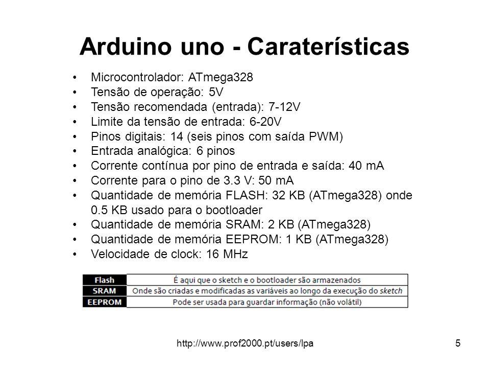 http://www.prof2000.pt/users/lpa5 Arduino uno - Caraterísticas Microcontrolador: ATmega328 Tensão de operação: 5V Tensão recomendada (entrada): 7-12V