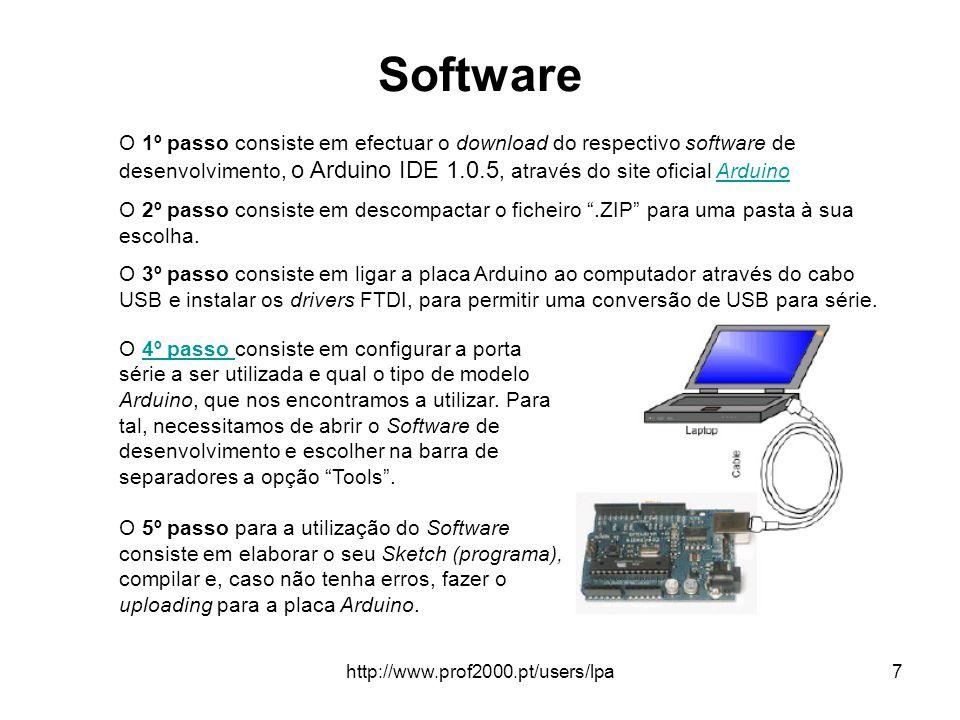 http://www.prof2000.pt/users/lpa8 Arduino IDE O monitor serial é utilizado para comunicação entre o Arduino e o computador (PC).