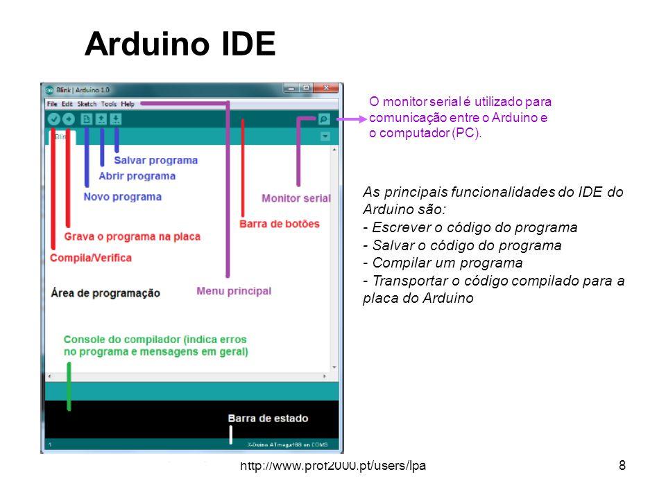 http://www.prof2000.pt/users/lpa8 Arduino IDE O monitor serial é utilizado para comunicação entre o Arduino e o computador (PC). As principais funcion