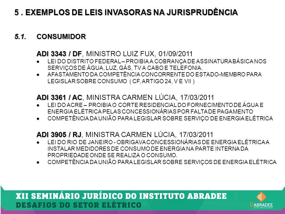 5. EXEMPLOS DE LEIS INVASORAS NA JURISPRUDÊNCIA 5.1.CONSUMIDOR ADI 3343 / DF ADI 3343 / DF, MINISTRO LUIZ FUX, 01/09/2011   LEI DO DISTRITO FEDERAL