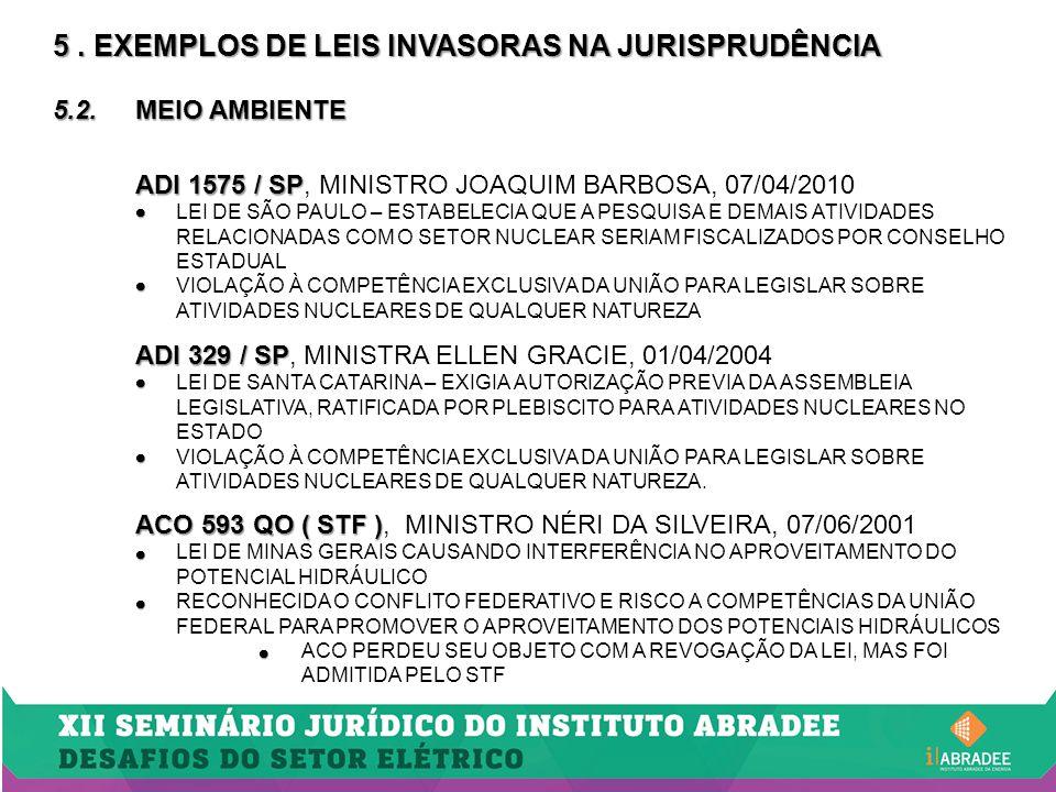5. EXEMPLOS DE LEIS INVASORAS NA JURISPRUDÊNCIA 5.2.MEIO AMBIENTE ADI 1575 / SP ADI 1575 / SP, MINISTRO JOAQUIM BARBOSA, 07/04/2010   LEI DE SÃO PAU