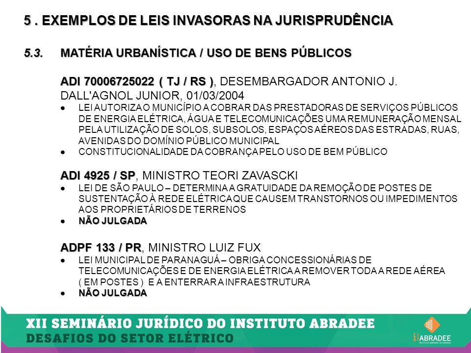 5. EXEMPLOS DE LEIS INVASORAS NA JURISPRUDÊNCIA 5.3.MATÉRIA URBANÍSTICA / USO DE BENS PÚBLICOS ADI 70006725022 ( TJ / RS ) ADI 70006725022 ( TJ / RS )