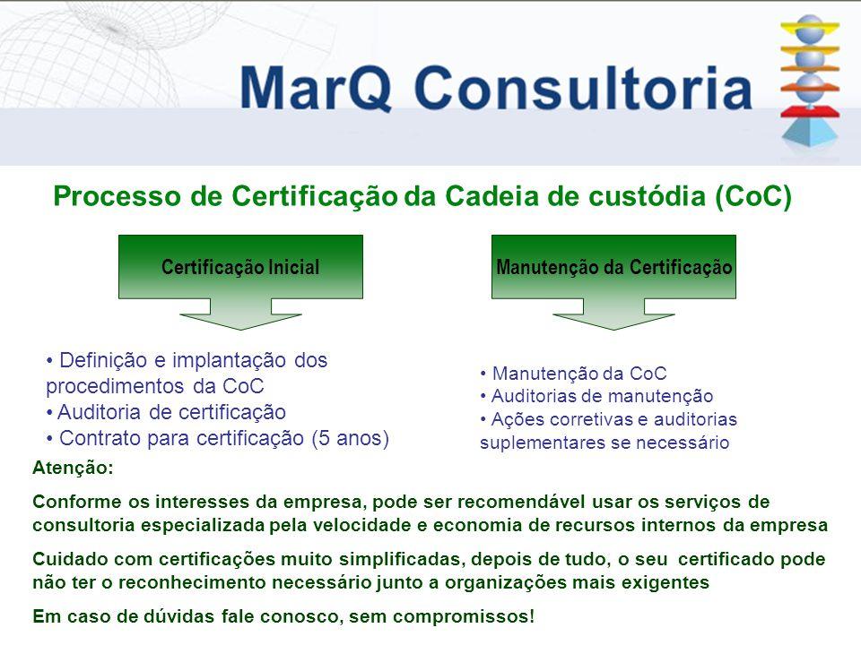 Processo de Certificação da Cadeia de custódia (CoC) Certificação InicialManutenção da Certificação Definição e implantação dos procedimentos da CoC Auditoria de certificação Contrato para certificação (5 anos) Manutenção da CoC Auditorias de manutenção Ações corretivas e auditorias suplementares se necessário Atenção: Conforme os interesses da empresa, pode ser recomendável usar os serviços de consultoria especializada pela velocidade e economia de recursos internos da empresa Cuidado com certificações muito simplificadas, depois de tudo, o seu certificado pode não ter o reconhecimento necessário junto a organizações mais exigentes Em caso de dúvidas fale conosco, sem compromissos!