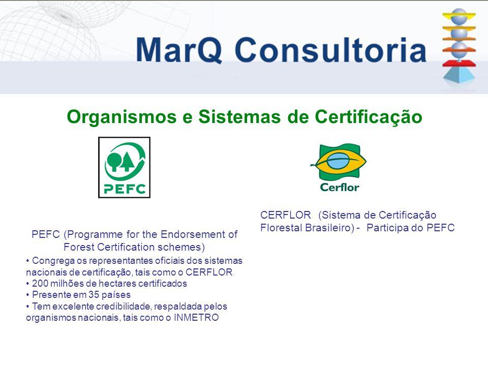 Organismos e Sistemas de Certificação CERFLOR (Sistema de Certificação Florestal Brasileiro) - Participa do PEFC PEFC (Programme for the Endorsement of Forest Certification schemes) Congrega os representantes oficiais dos sistemas nacionais de certificação, tais como o CERFLOR 200 milhões de hectares certificados Presente em 35 países Tem excelente credibilidade, respaldada pelos organismos nacionais, tais como o INMETRO