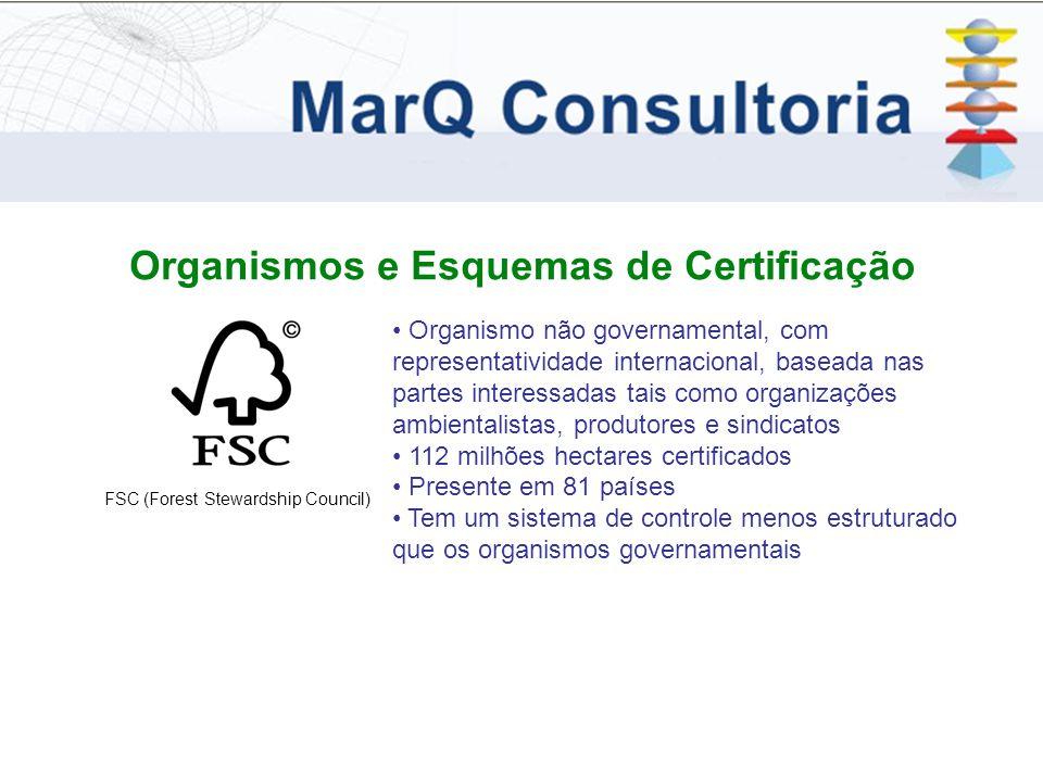 Organismos e Esquemas de Certificação FSC (Forest Stewardship Council) Organismo não governamental, com representatividade internacional, baseada nas partes interessadas tais como organizações ambientalistas, produtores e sindicatos 112 milhões hectares certificados Presente em 81 países Tem um sistema de controle menos estruturado que os organismos governamentais