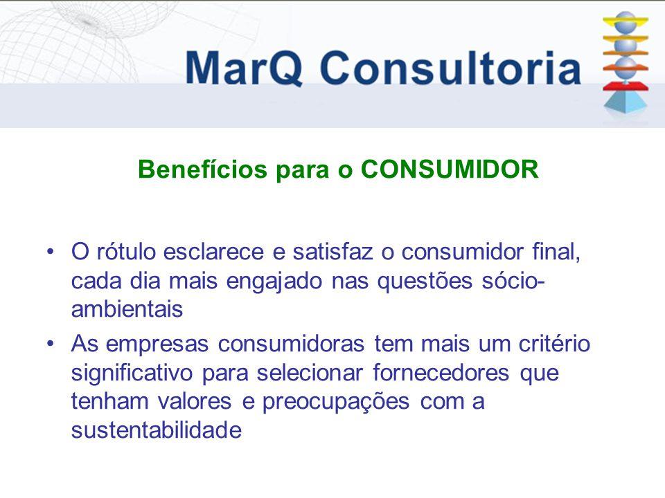 Benefícios para o CONSUMIDOR O rótulo esclarece e satisfaz o consumidor final, cada dia mais engajado nas questões sócio- ambientais As empresas consumidoras tem mais um critério significativo para selecionar fornecedores que tenham valores e preocupações com a sustentabilidade