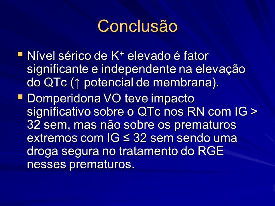 Conclusão  Nível sérico de K + elevado é fator significante e independente na elevação do QTc (↑ potencial de membrana).  Domperidona VO teve impact