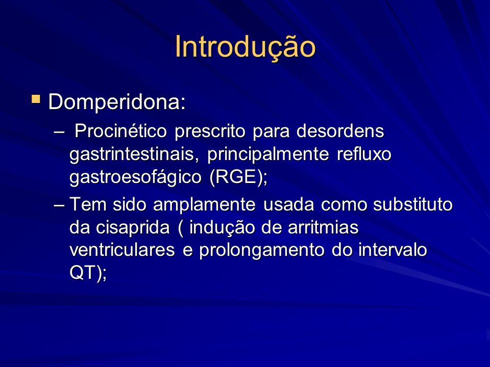 Resultados  O intervalo QTc (mseg) mostrou-se prolongado durante o uso da domperidona (P<0,01): Pré-tratamento: 373,2 ± 4,8; Pré-tratamento: 373,2 ± 4,8; Durante tratamento: 387,2 ± 5,1 Durante tratamento: 387,2 ± 5,1  Houve diferença significativa no valor do intervalo QTc entre os grupos de IG (P<0,05): Grupo A: 364, 8 ± 6,8 Grupo A: 364, 8 ± 6,8 Grupo B: 398 ± 9,3 Grupo B: 398 ± 9,3 Grupo C: 377,9 ± 7,4 Grupo C: 377,9 ± 7,4