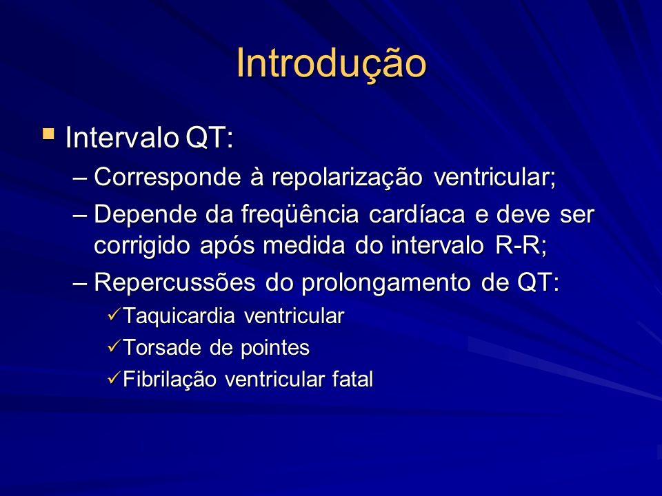 Introdução  Intervalo QT: –Corresponde à repolarização ventricular; –Depende da freqüência cardíaca e deve ser corrigido após medida do intervalo R-R