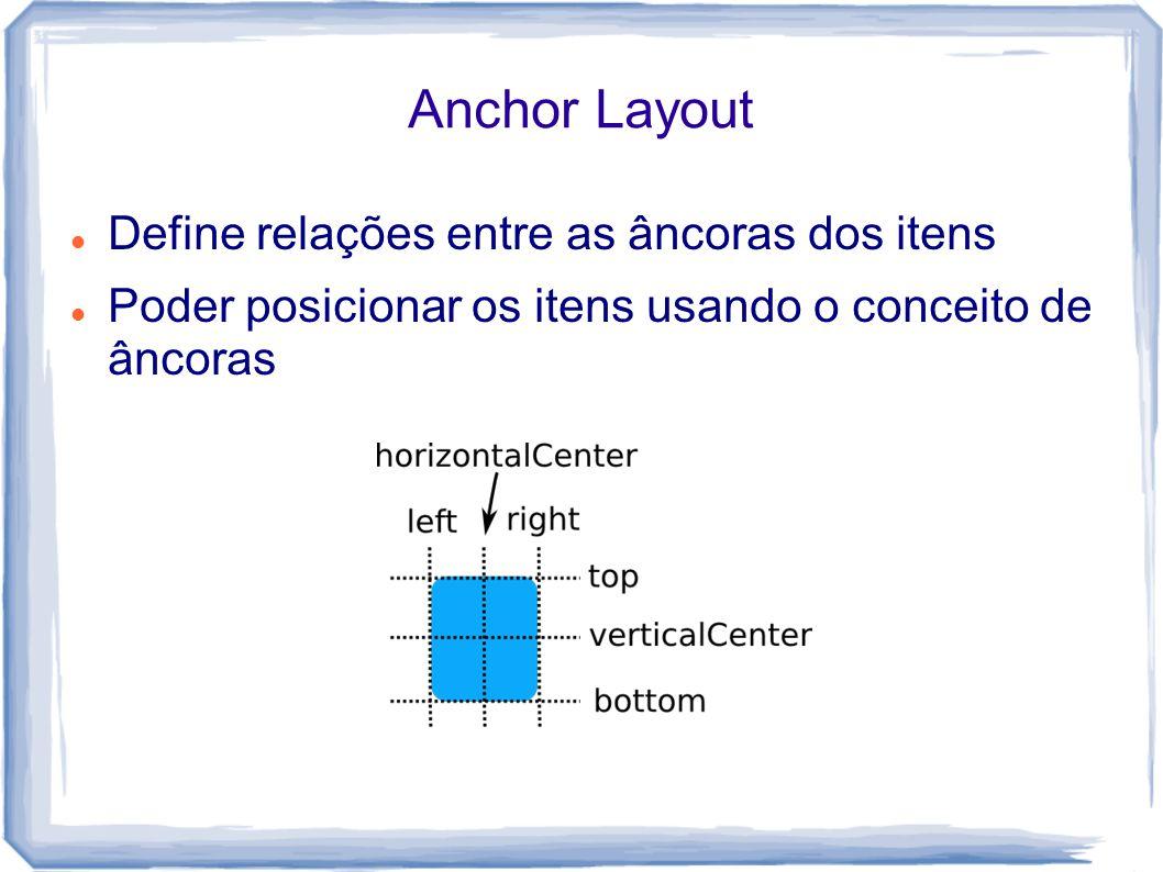 Anchor Layout Define relações entre as âncoras dos itens Poder posicionar os itens usando o conceito de âncoras