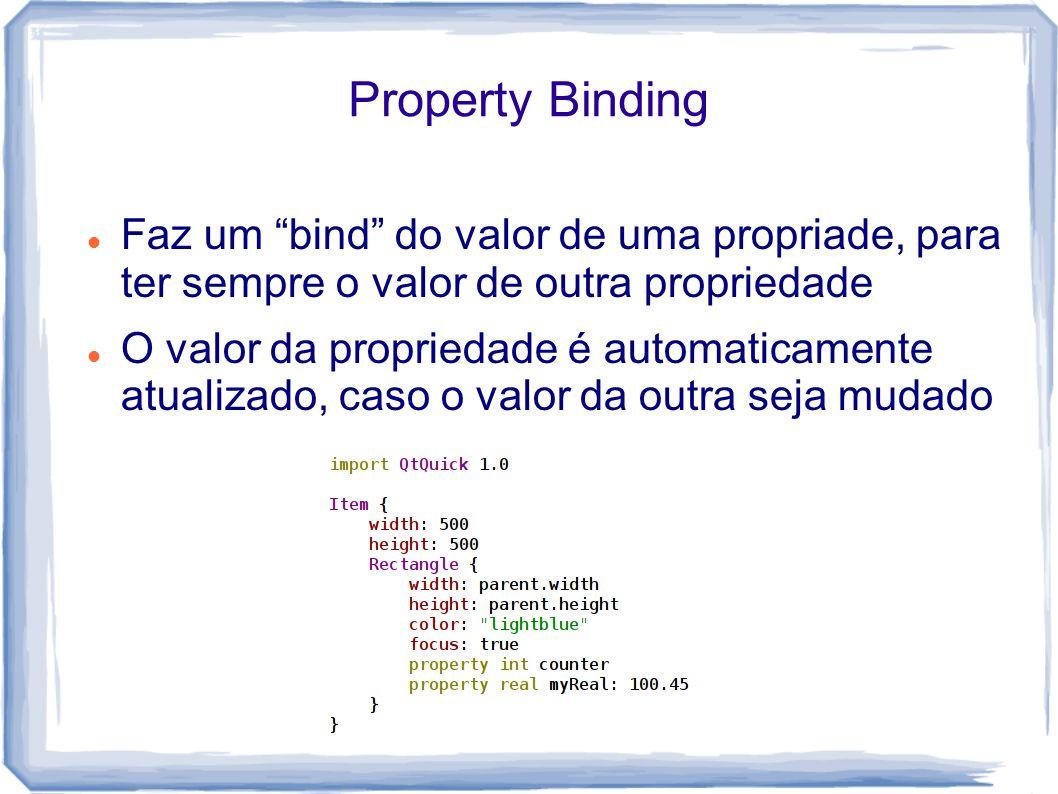 Property Binding Faz um bind do valor de uma propriade, para ter sempre o valor de outra propriedade O valor da propriedade é automaticamente atualizado, caso o valor da outra seja mudado