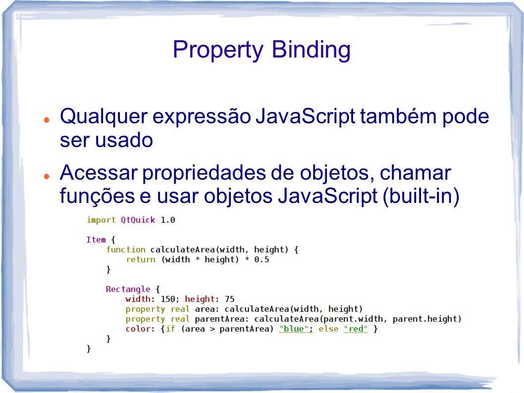 Property Binding Qualquer expressão JavaScript também pode ser usado Acessar propriedades de objetos, chamar funções e usar objetos JavaScript (built-