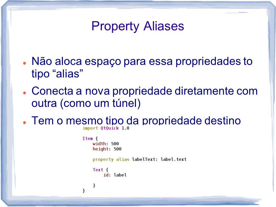 Property Aliases Não aloca espaço para essa propriedades to tipo alias Conecta a nova propriedade diretamente com outra (como um túnel) Tem o mesmo tipo da propriedade destino