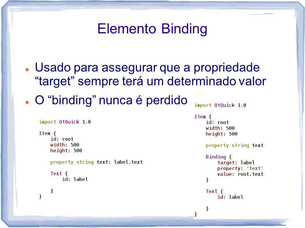 Elemento Binding Usado para assegurar que a propriedade target sempre terá um determinado valor O binding nunca é perdido