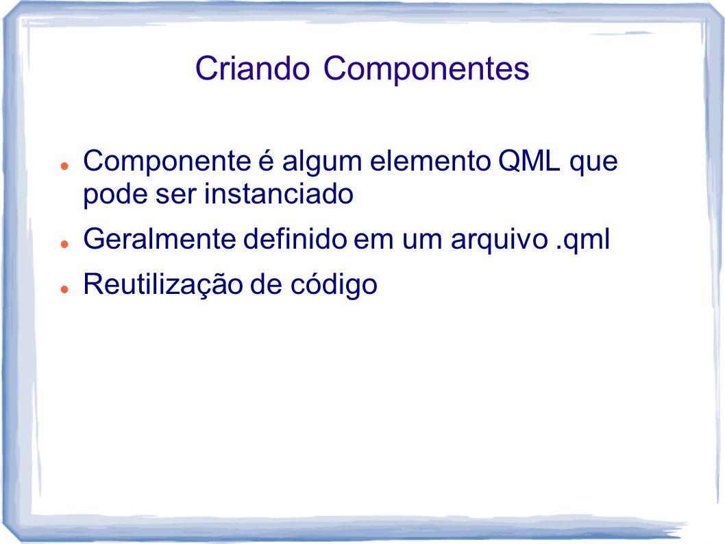 Criando Componentes Componente é algum elemento QML que pode ser instanciado Geralmente definido em um arquivo.qml Reutilização de código