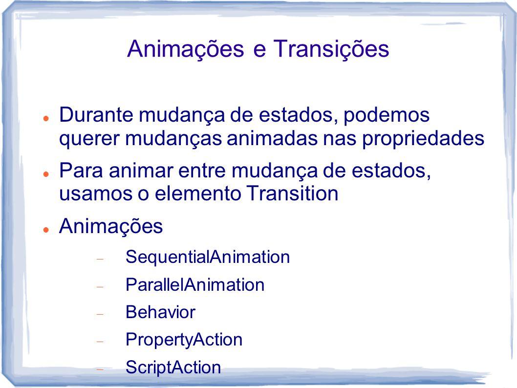 Animações e Transições Durante mudança de estados, podemos querer mudanças animadas nas propriedades Para animar entre mudança de estados, usamos o elemento Transition Animações  SequentialAnimation  ParallelAnimation  Behavior  PropertyAction  ScriptAction