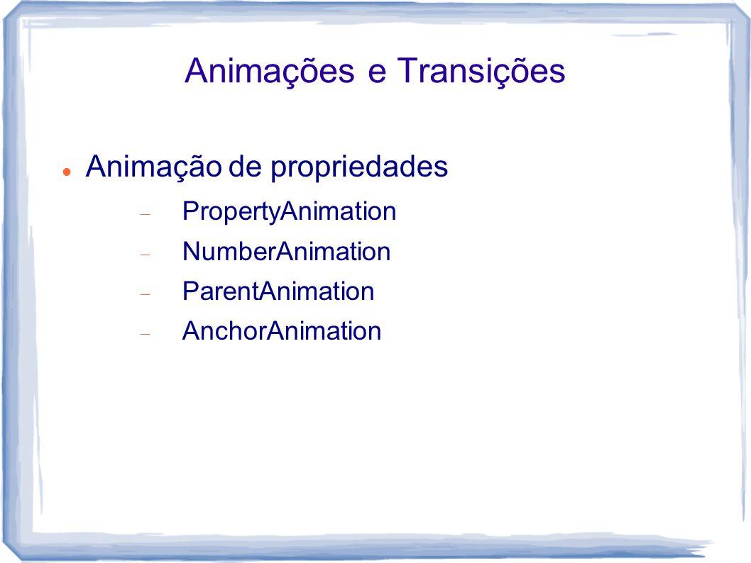 Animações e Transições Animação de propriedades  PropertyAnimation  NumberAnimation  ParentAnimation  AnchorAnimation