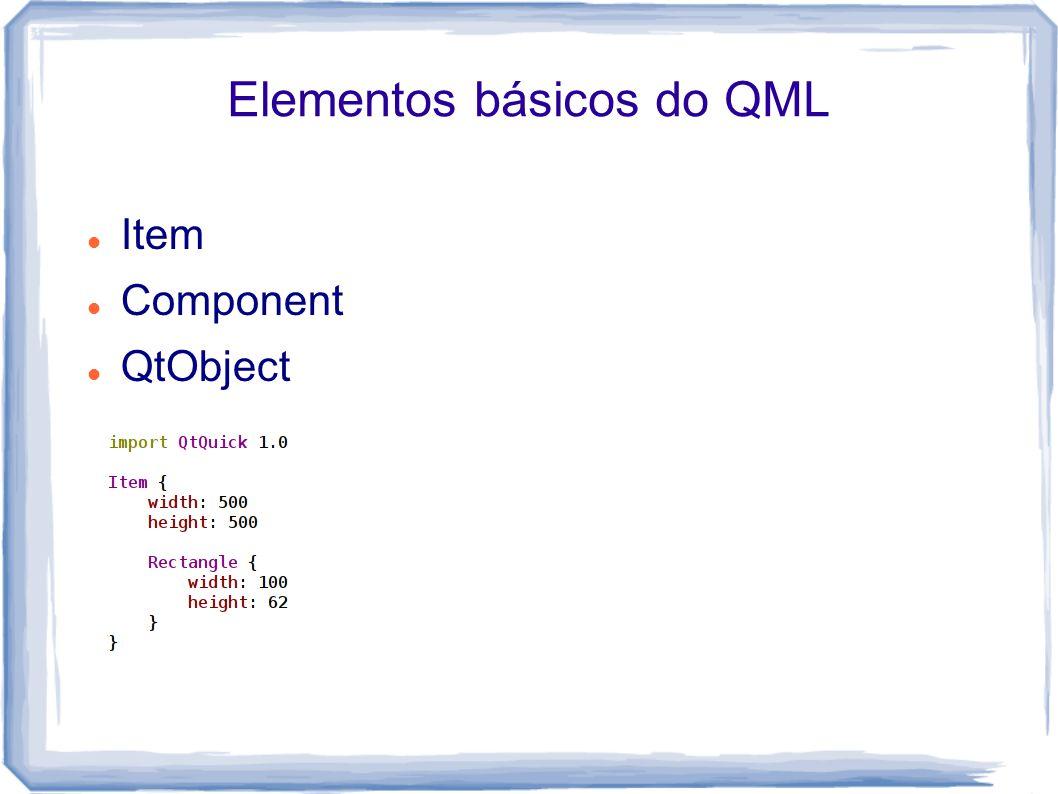 Elementos básicos do QML Item Component QtObject