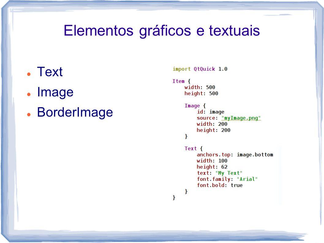 Elementos gráficos e textuais Text Image BorderImage