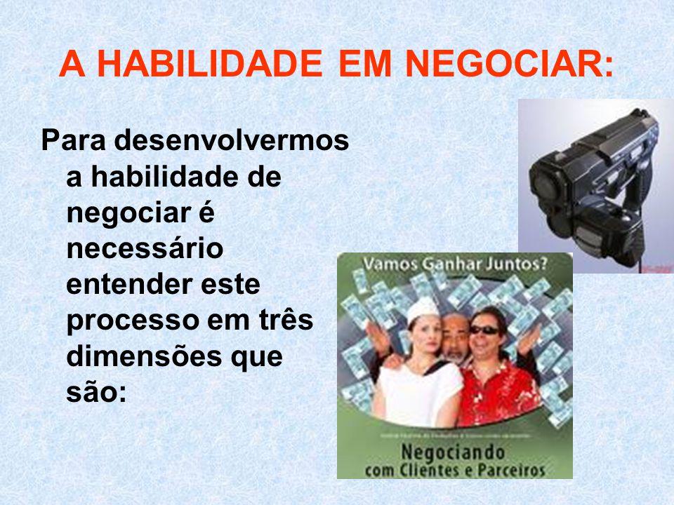 A HABILIDADE EM NEGOCIAR: Para desenvolvermos a habilidade de negociar é necessário entender este processo em três dimensões que são: