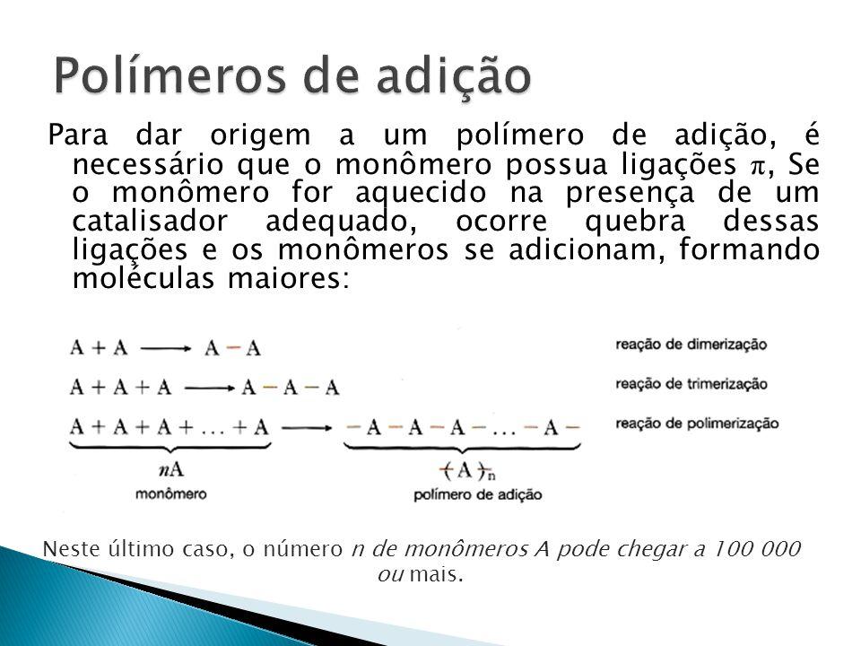 Exemplos de polímeros de adição mais comumente encontrados no nosso dia-a-dia:  polietileno:  cloreto de polivinila (ou PVC):