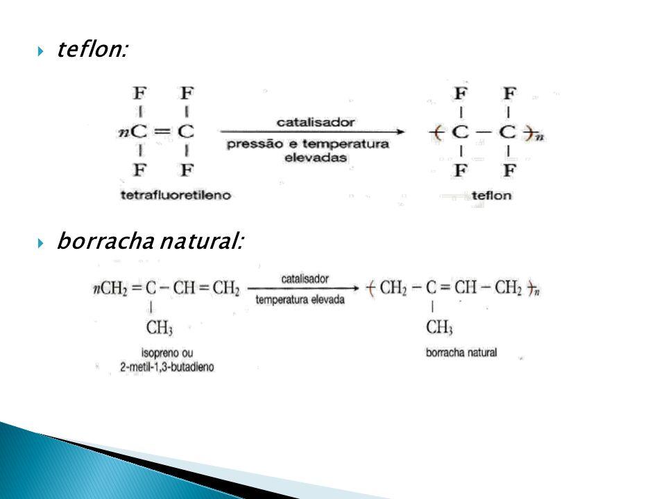  teflon:  borracha natural: