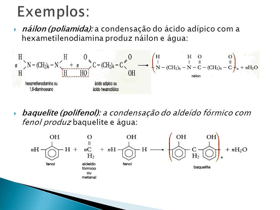  náilon (poliamida): a condensação do ácido adípico com a hexametilenodiamina produz náilon e água:  baquelite (polifenol): a condensação do aldeído
