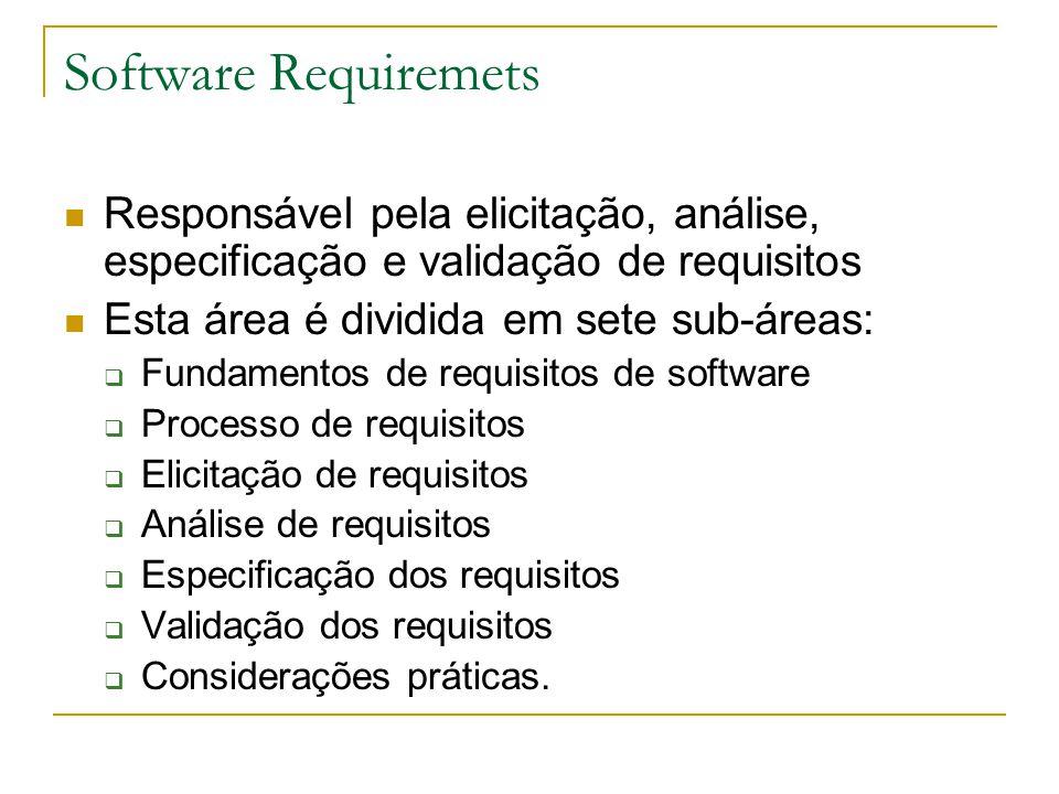 Software Requiremets Responsável pela elicitação, análise, especificação e validação de requisitos Esta área é dividida em sete sub-áreas:  Fundament