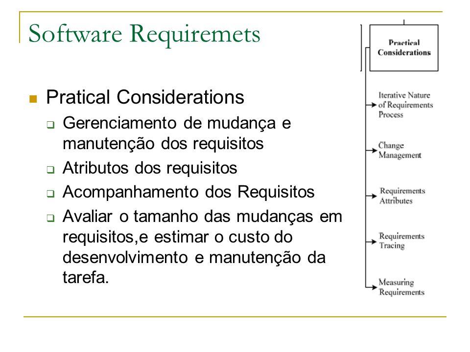Software Requiremets Pratical Considerations  Gerenciamento de mudança e manutenção dos requisitos  Atributos dos requisitos  Acompanhamento dos Re