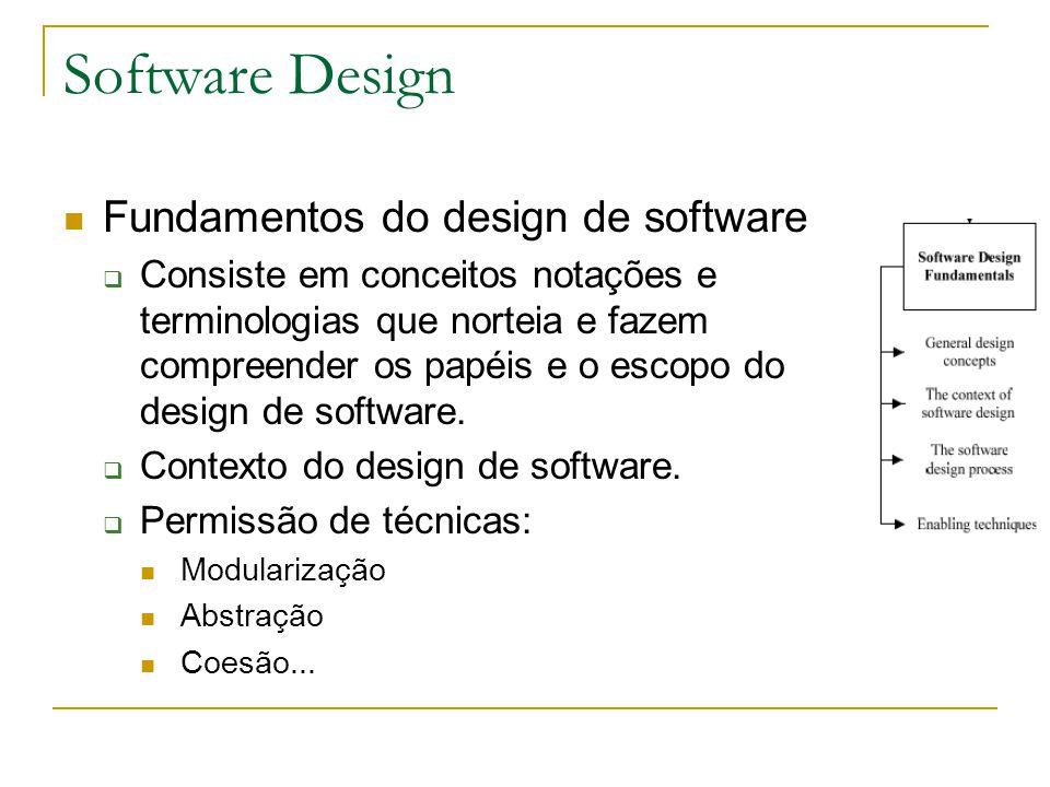 Fundamentos do design de software  Consiste em conceitos notações e terminologias que norteia e fazem compreender os papéis e o escopo do design de s