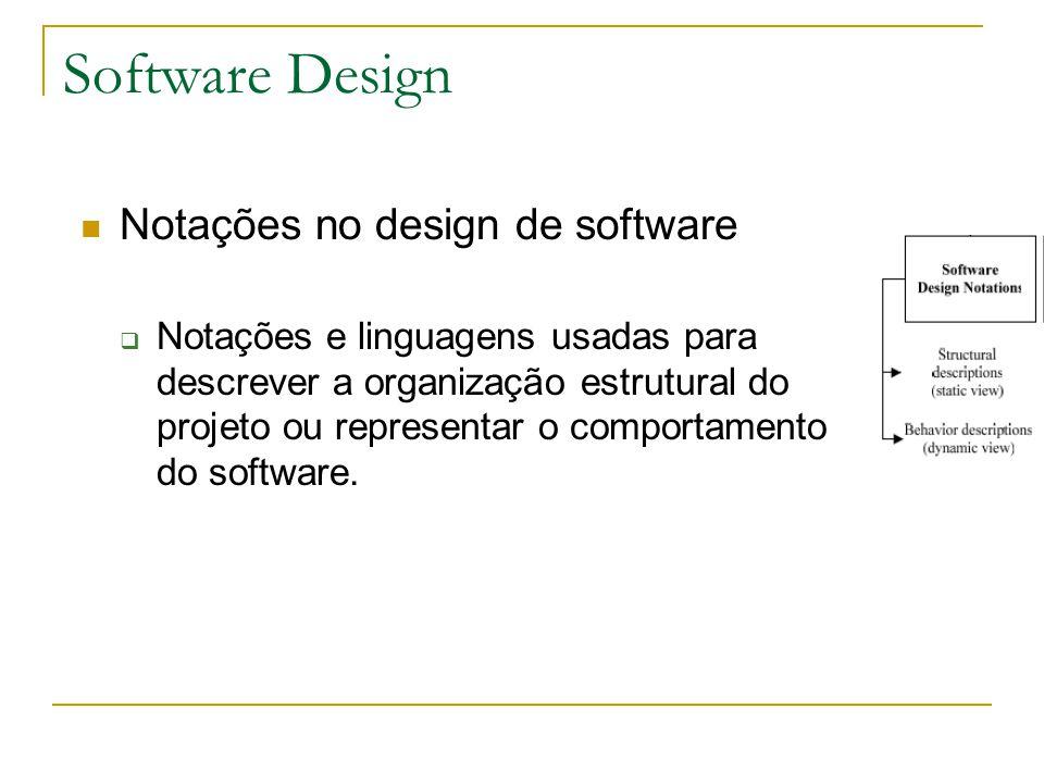 Software Design Notações no design de software  Notações e linguagens usadas para descrever a organização estrutural do projeto ou representar o comp
