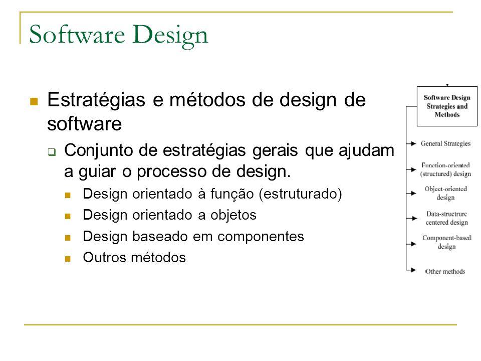 Software Design Estratégias e métodos de design de software  Conjunto de estratégias gerais que ajudam a guiar o processo de design. Design orientado