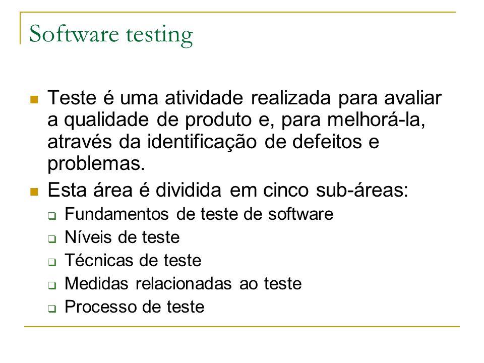 Software testing Teste é uma atividade realizada para avaliar a qualidade de produto e, para melhorá-la, através da identificação de defeitos e proble