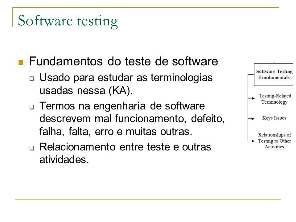 Fundamentos do teste de software  Usado para estudar as terminologias usadas nessa (KA).  Termos na engenharia de software descrevem mal funcionamen