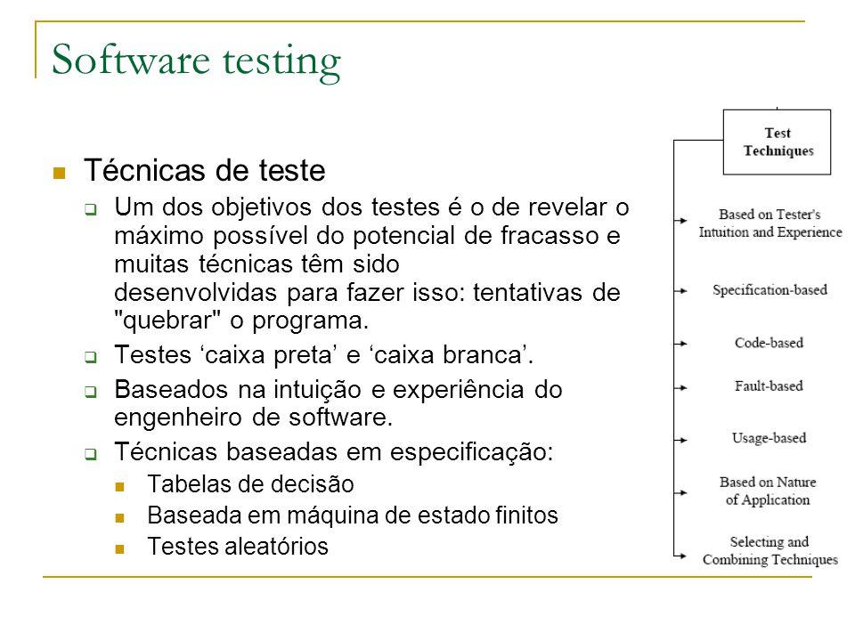 Software testing Técnicas de teste  Um dos objetivos dos testes é o de revelar o máximo possível do potencial de fracasso e muitas técnicas têm sido