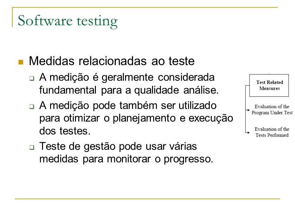 Software testing Medidas relacionadas ao teste  A medição é geralmente considerada fundamental para a qualidade análise.  A medição pode também ser