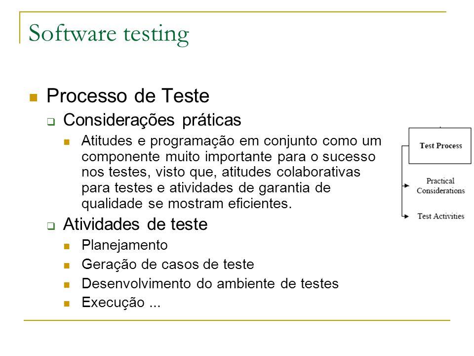 Software testing Processo de Teste  Considerações práticas Atitudes e programação em conjunto como um componente muito importante para o sucesso nos