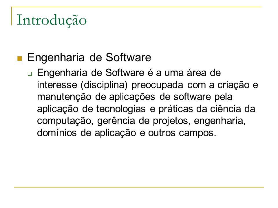 Introdução Engenharia de Software  Engenharia de Software é a uma área de interesse (disciplina) preocupada com a criação e manutenção de aplicações