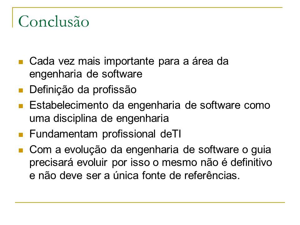Conclusão Cada vez mais importante para a área da engenharia de software Definição da profissão Estabelecimento da engenharia de software como uma dis